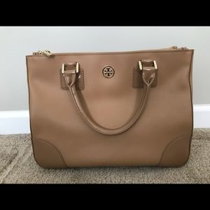 Tory Burch Robinson Double Zip Leather Tote Sand